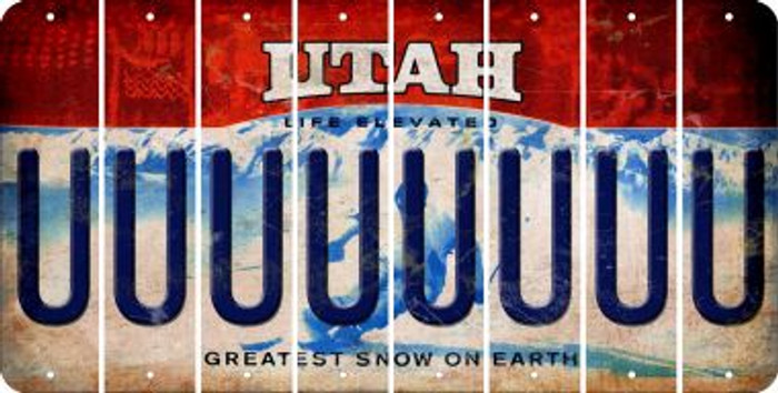 Utah U Cut License Plate Strips (Set of 8) LPS-UT1-021