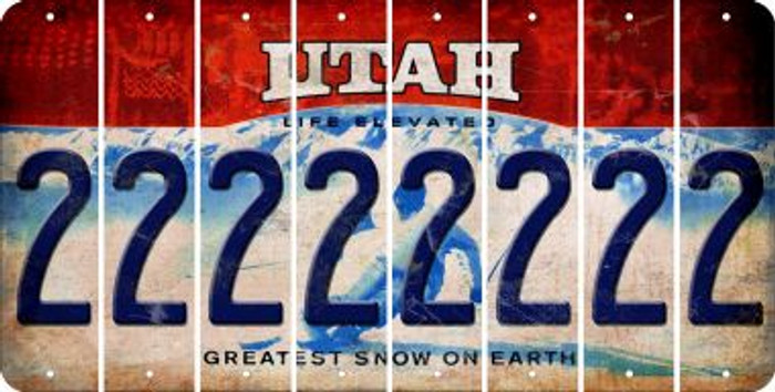 Utah 2 Cut License Plate Strips (Set of 8) LPS-UT1-029