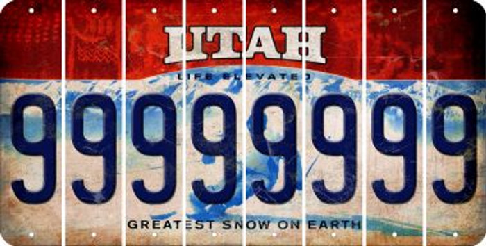 Utah 9 Cut License Plate Strips (Set of 8) LPS-UT1-036