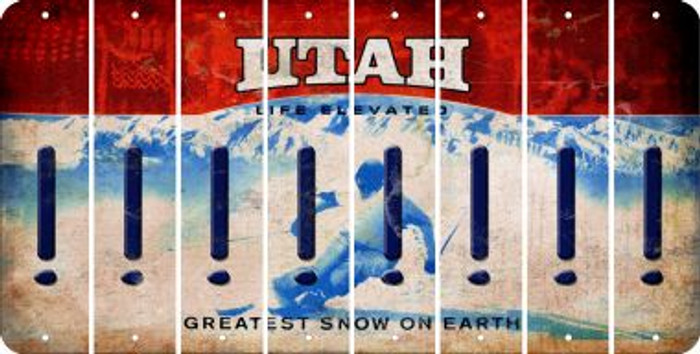 Utah EXCLAMATION POINT Cut License Plate Strips (Set of 8) LPS-UT1-041