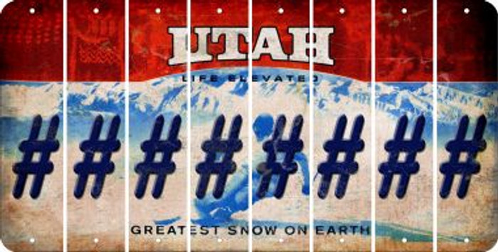 Utah HASHTAG Cut License Plate Strips (Set of 8) LPS-UT1-043