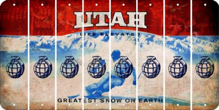 Utah HAND GRENADE Cut License Plate Strips (Set of 8) LPS-UT1-050