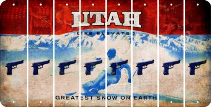 Utah HANDGUN Cut License Plate Strips (Set of 8) LPS-UT1-051