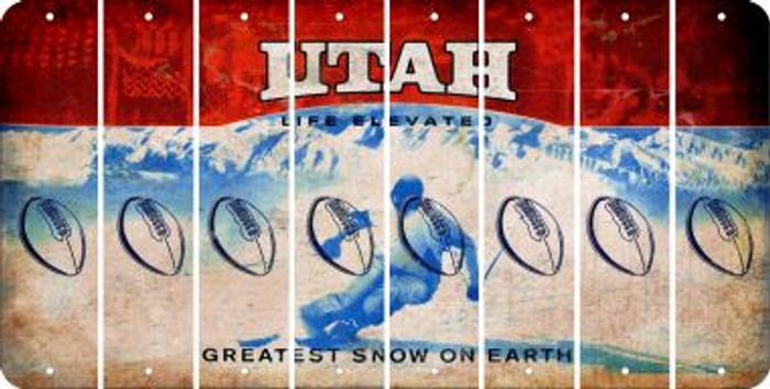 Utah FOOTBALL Cut License Plate Strips (Set of 8) LPS-UT1-060