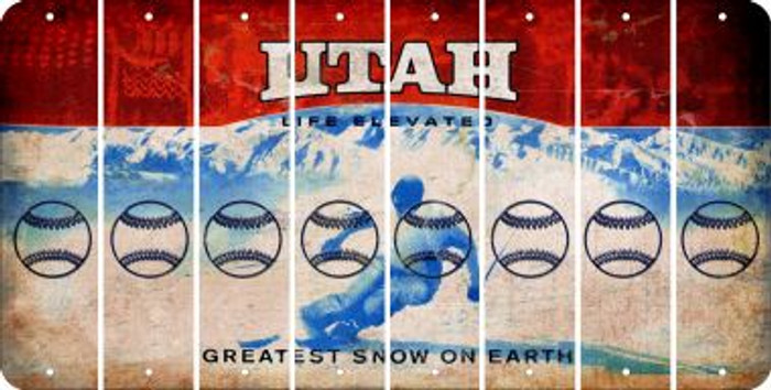 Utah BASEBALL / SOFTBALL Cut License Plate Strips (Set of 8) LPS-UT1-063