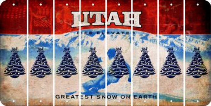 Utah CHRISTMAS TREE Cut License Plate Strips (Set of 8) LPS-UT1-077