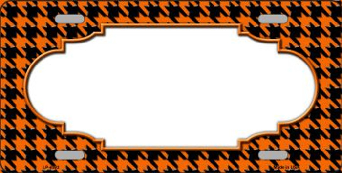 Orange Black Houndstooth With Scallop Center Wholesale Metal Novelty License Plate LP-4593