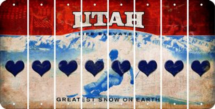 Utah HEART Cut License Plate Strips (Set of 8) LPS-UT1-081