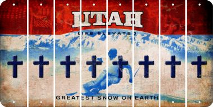 Utah CROSS Cut License Plate Strips (Set of 8) LPS-UT1-083