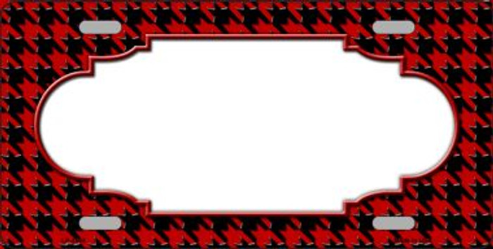 Red Black Houndstooth With Scallop Center Wholesale Metal Novelty License Plate LP-4594