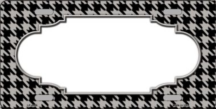 Grey Black Houndstooth With Scallop Center Wholesale Metal Novelty License Plate LP-4595