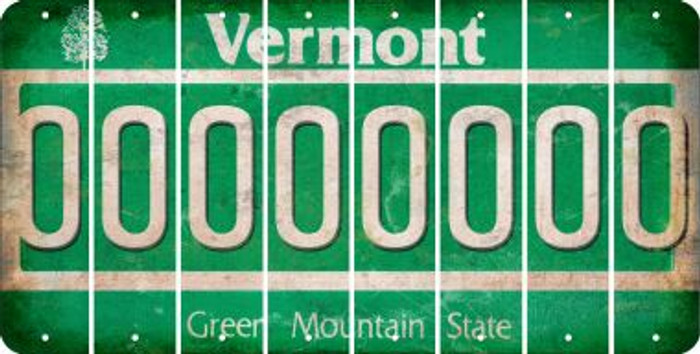 Vermont 0 Cut License Plate Strips (Set of 8) LPS-VT1-027