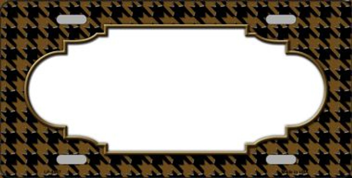 Brown Black Houndstooth With Scallop Center Wholesale Metal Novelty License Plate LP-4597