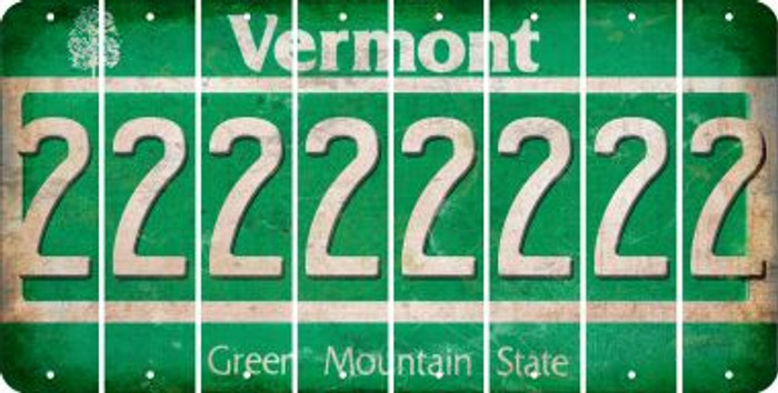 Vermont 2 Cut License Plate Strips (Set of 8) LPS-VT1-029