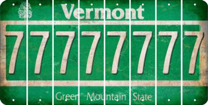Vermont 7 Cut License Plate Strips (Set of 8) LPS-VT1-034