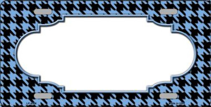 Light Blue Black Houndstooth With Scallop Center Wholesale Metal Novelty License Plate LP-4598
