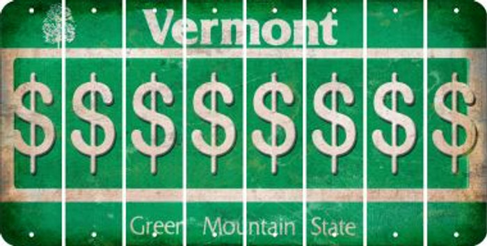 Vermont DOLLAR SIGN Cut License Plate Strips (Set of 8) LPS-VT1-040