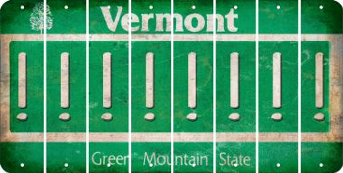 Vermont EXCLAMATION POINT Cut License Plate Strips (Set of 8) LPS-VT1-041