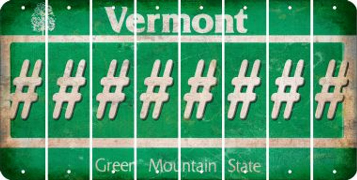 Vermont HASHTAG Cut License Plate Strips (Set of 8) LPS-VT1-043