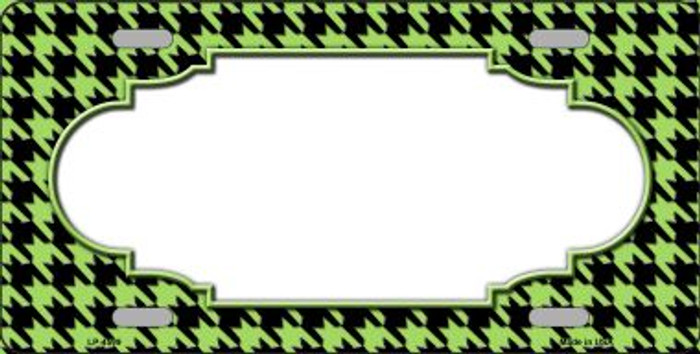 Lime Green Black Houndstooth With Scallop Center Wholesale Metal Novelty License Plate LP-4599