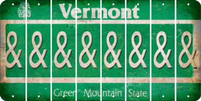 Vermont AMPERSAND Cut License Plate Strips (Set of 8) LPS-VT1-049
