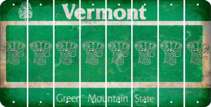 Vermont BASKETBALL HOOP Cut License Plate Strips (Set of 8) LPS-VT1-058