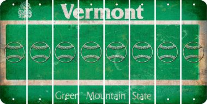 Vermont BASEBALL / SOFTBALL Cut License Plate Strips (Set of 8) LPS-VT1-063