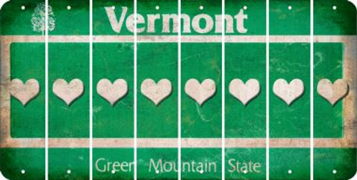 Vermont HEART Cut License Plate Strips (Set of 8) LPS-VT1-081