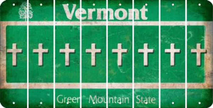 Vermont CROSS Cut License Plate Strips (Set of 8) LPS-VT1-083