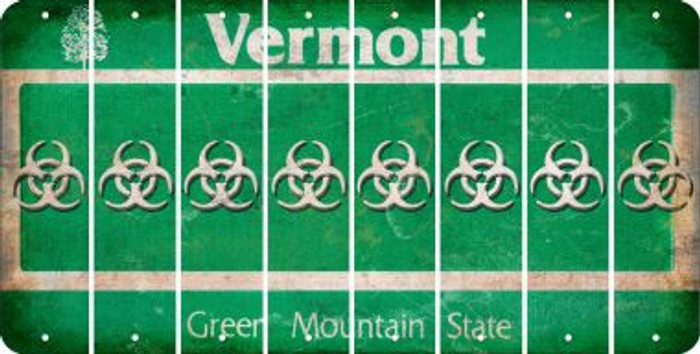 Vermont BIO HAZARD Cut License Plate Strips (Set of 8) LPS-VT1-084