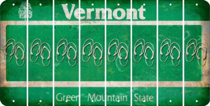 Vermont FLIP FLOPS Cut License Plate Strips (Set of 8) LPS-VT1-085