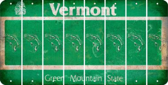 Vermont FISH Cut License Plate Strips (Set of 8) LPS-VT1-086