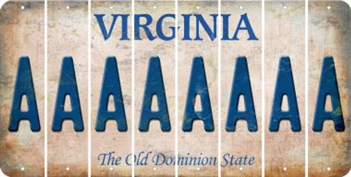 Virginia A Cut License Plate Strips (Set of 8) LPS-VA1-001