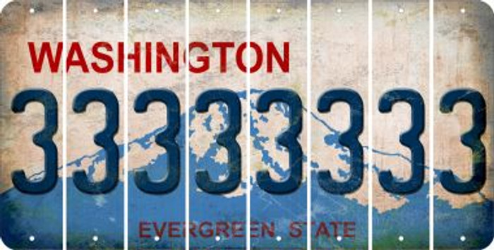 Washington 3 Cut License Plate Strips (Set of 8) LPS-WA1-030