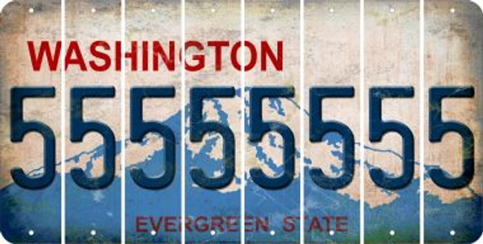 Washington 5 Cut License Plate Strips (Set of 8) LPS-WA1-032