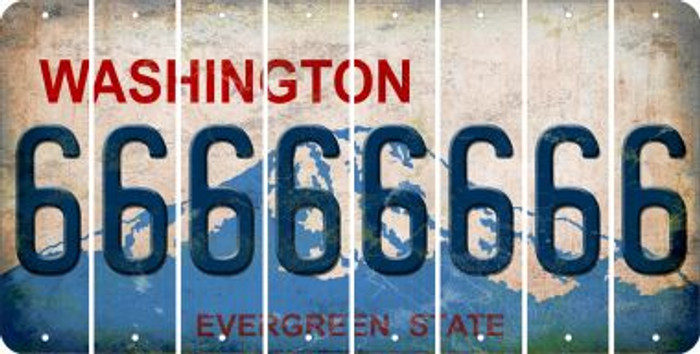 Washington 6 Cut License Plate Strips (Set of 8) LPS-WA1-033