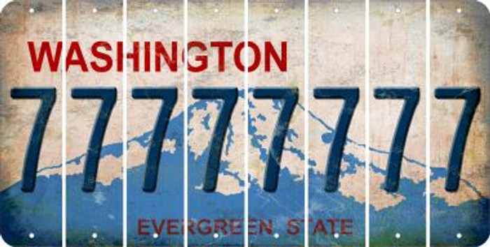 Washington 7 Cut License Plate Strips (Set of 8) LPS-WA1-034