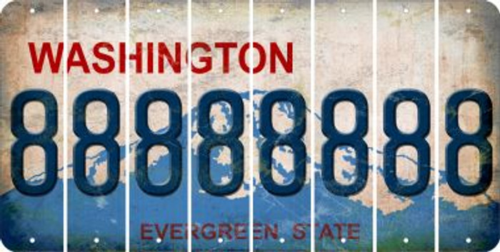 Washington 8 Cut License Plate Strips (Set of 8) LPS-WA1-035