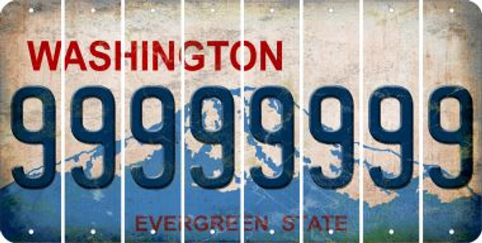 Washington 9 Cut License Plate Strips (Set of 8) LPS-WA1-036