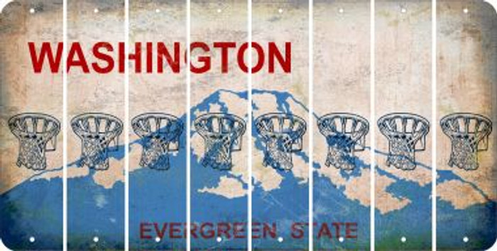 Washington BASKETBALL HOOP Cut License Plate Strips (Set of 8) LPS-WA1-058