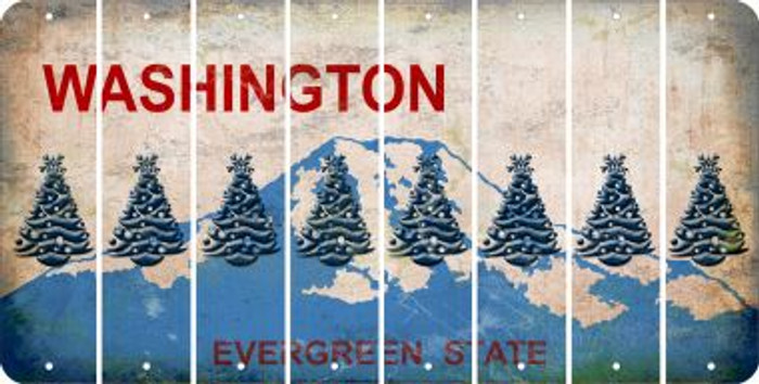 Washington CHRISTMAS TREE Cut License Plate Strips (Set of 8) LPS-WA1-077