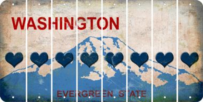 Washington HEART Cut License Plate Strips (Set of 8) LPS-WA1-081