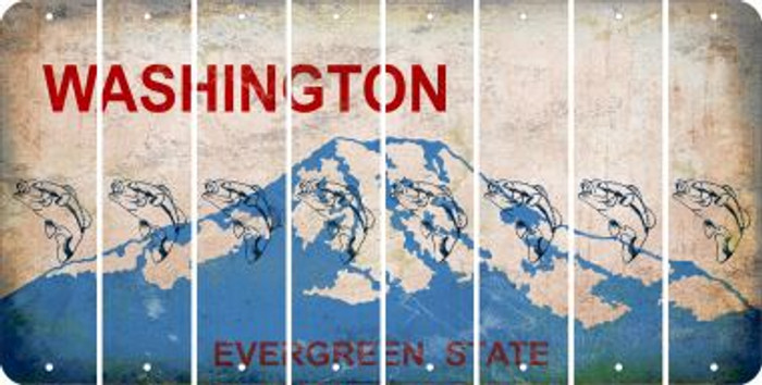 Washington FISH Cut License Plate Strips (Set of 8) LPS-WA1-086