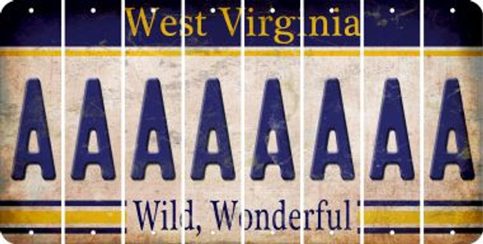West Virginia A Cut License Plate Strips (Set of 8) LPS-WV1-001