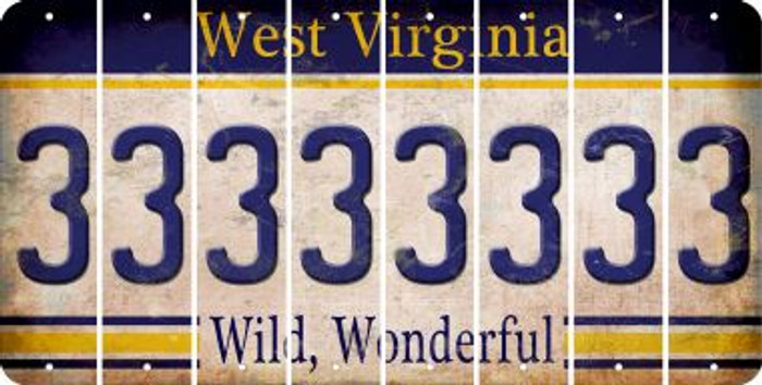 West Virginia 3 Cut License Plate Strips (Set of 8) LPS-WV1-030