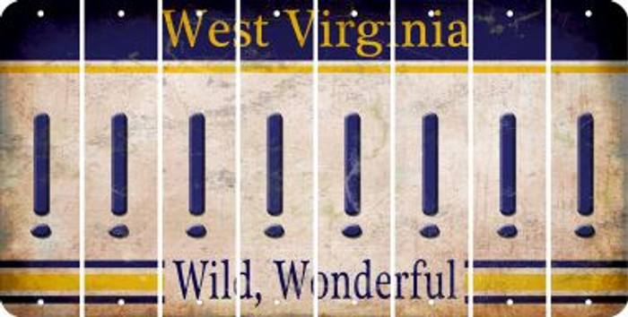 West Virginia EXCLAMATION POINT Cut License Plate Strips (Set of 8) LPS-WV1-041