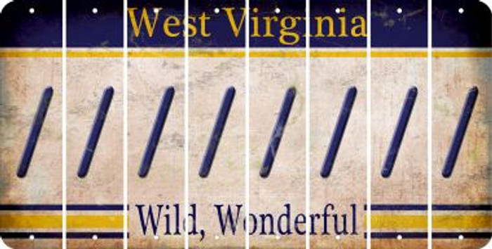 West Virginia FORWARD SLASH Cut License Plate Strips (Set of 8) LPS-WV1-042