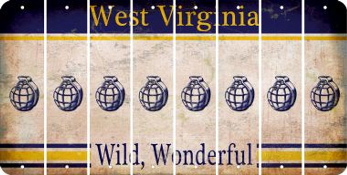 West Virginia HAND GRENADE Cut License Plate Strips (Set of 8) LPS-WV1-050