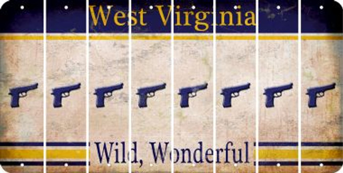 West Virginia HANDGUN Cut License Plate Strips (Set of 8) LPS-WV1-051