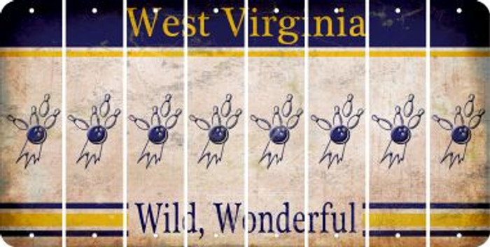 West Virginia BOWLING Cut License Plate Strips (Set of 8) LPS-WV1-059